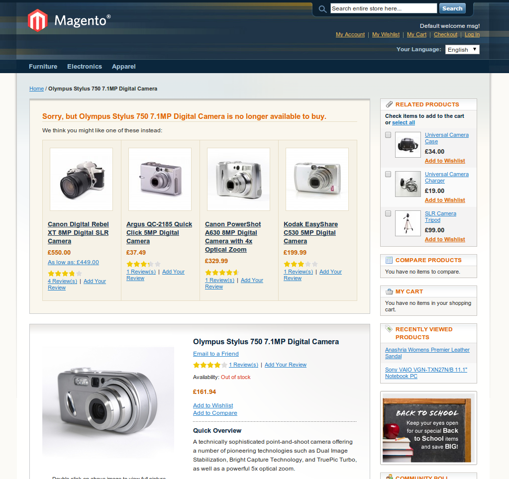 Discontinued Products Magento
